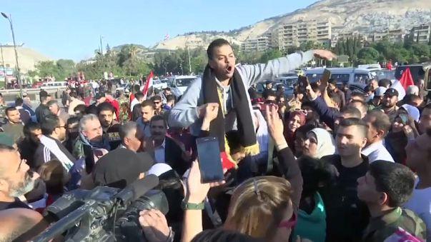 Protestas en Damasco tras los bombardeos