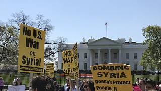 Watch: Protests against Syria air strikes take place outside White House