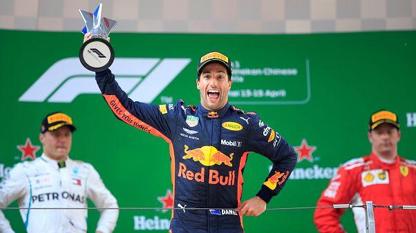 Daniel Ricciardo celebrates victory in Chinese Grand Prix