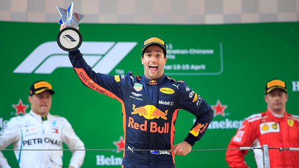 Daniel Ricciardo celebrates victory in Chinese Grand Prix