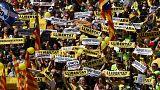 تظاهرات گسترده در باسلونا اسپانیا در اعتراض به زندانی کردن رهبران جدایی طلبان