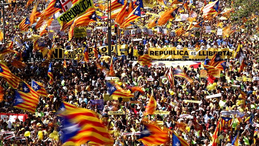 Manifestación en Cataluña por la libertad de los políticos encarcelados