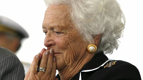 Former first lady Barbara Bush listens to remarks during the christening ce