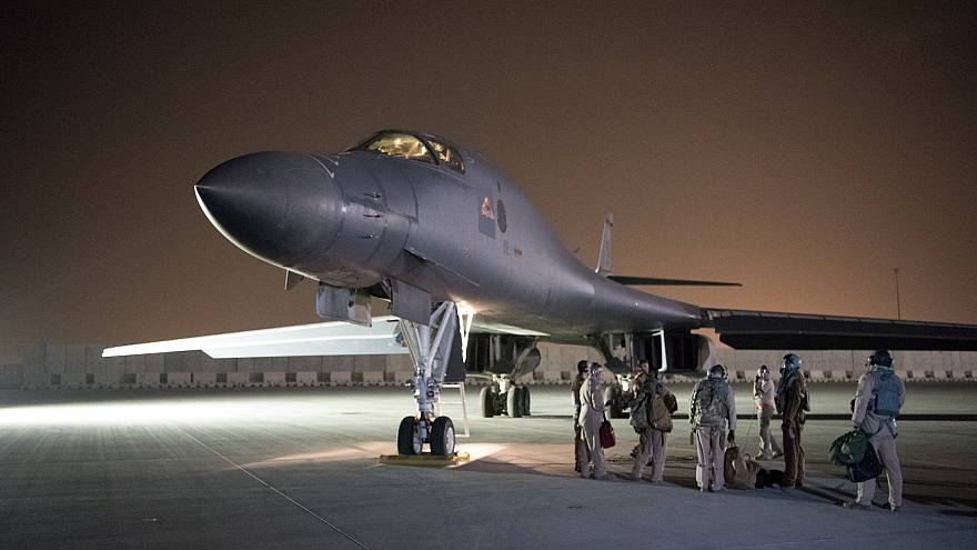 A U.S. B-1B Lancer being deployed to launch strike in Syria