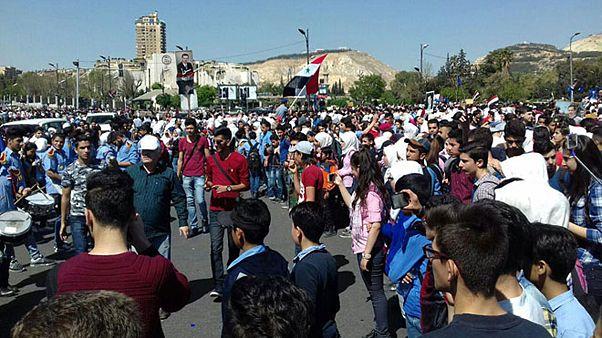 تظاهرات دوباره در دمشق در حمایت از نیروهای مسلح سوریه