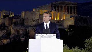 Macron a discursar em Atenas