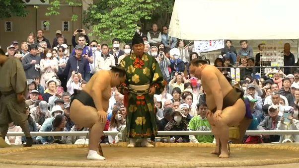 Весенний фестиваль сумо прошёл в Токио