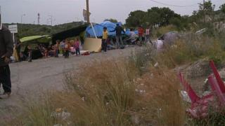 A makeshift refugee camp in greece