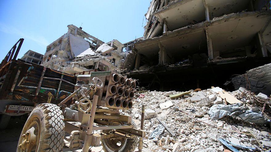 Ein Raketenwerfer in Damaskus.