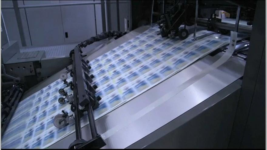 Pound notes being printed