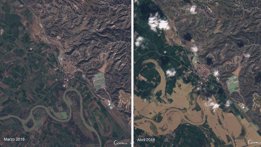 Vídeo: la impresionante crecida del Ebro, vista desde el espacio