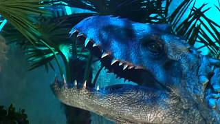 Dinosaurs at the Jurassic World exhibition in Paris