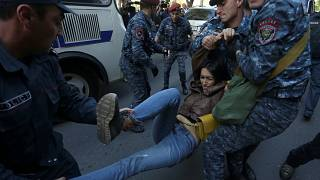 Police detains dozens of opposition protesters in Armenia
