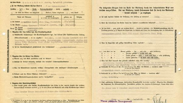 "A form refers a child, Herta, to the Nazi's child ""euthanasia"" programme"