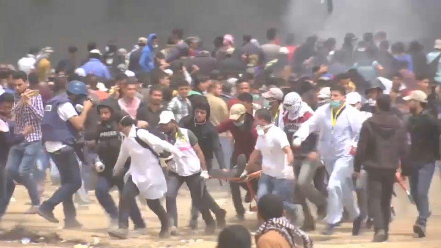 شاهد: مسيرة العدوة في جمعتها الرابعة عند الحدود بين قطاع غزة وإسرائيل
