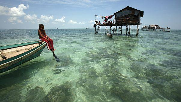 A Bajau Laut girl in Malaysia's state of Sabah, Borneo island, Feb 2009
