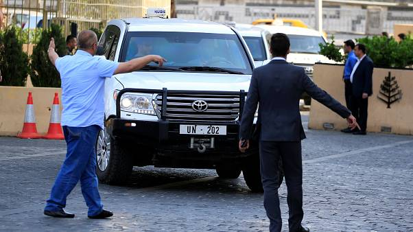 UN vehicles carrying OPCW inspectors in Damascus on April 14, 2018.