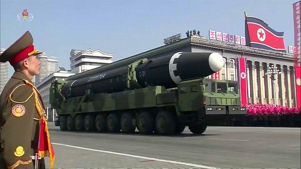 North Korean missiles on display in Pyongyang