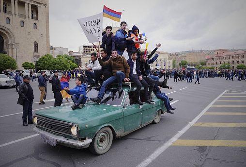 A protest against new PM Serzh Sargsyan, Yerevan, Armenia, April 21, 2018