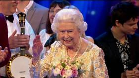 Queen Elizabeth at her birthday party on Saturday