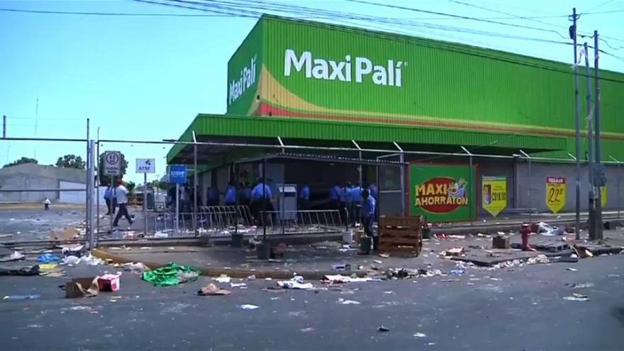 Looted supermarket in Nicaragaun capital Managua