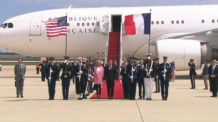 Emmanuel Macron and his wife Brigitte arrive in the United States