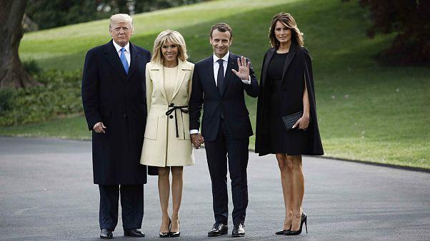 دونالد ترامپ، برژیت ماکرون، ملانیا ترامپ و امانوئل ماکرون در کاخ سفید