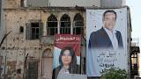 لافتتان انتخابيتان في بيروت يوم 23 ابريل نيسان 2018