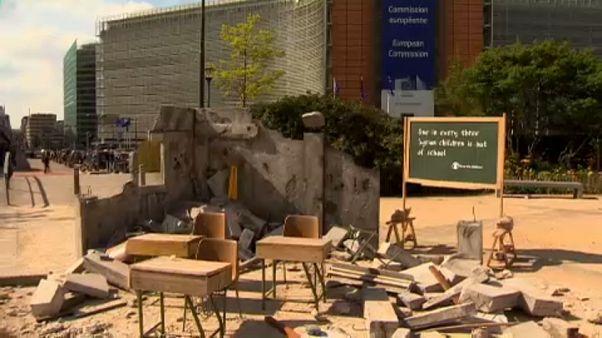 Hatásos a szétbombázott iskola Brüsszelben