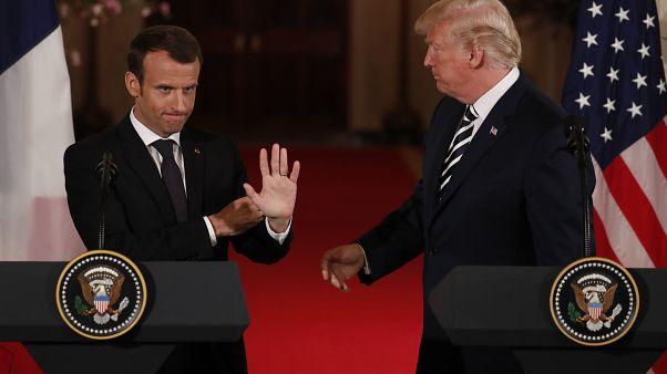 ختام المؤتمر الصحفي بين دونالد ترامب وإيمانويل ماكرون في البين الأبيض