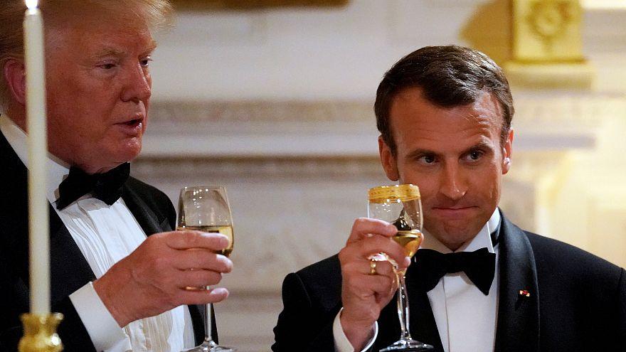 Trump hosts Macron at gala dinner as leaders hint at new Iran nuclear deal