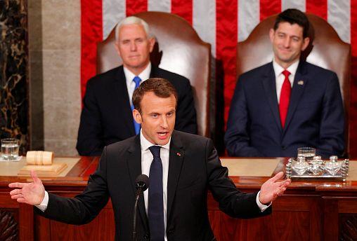 ماکرون در کنگرۀ آمریکا: بدون جایگزین جامعتر، نباید برجام را رها کرد