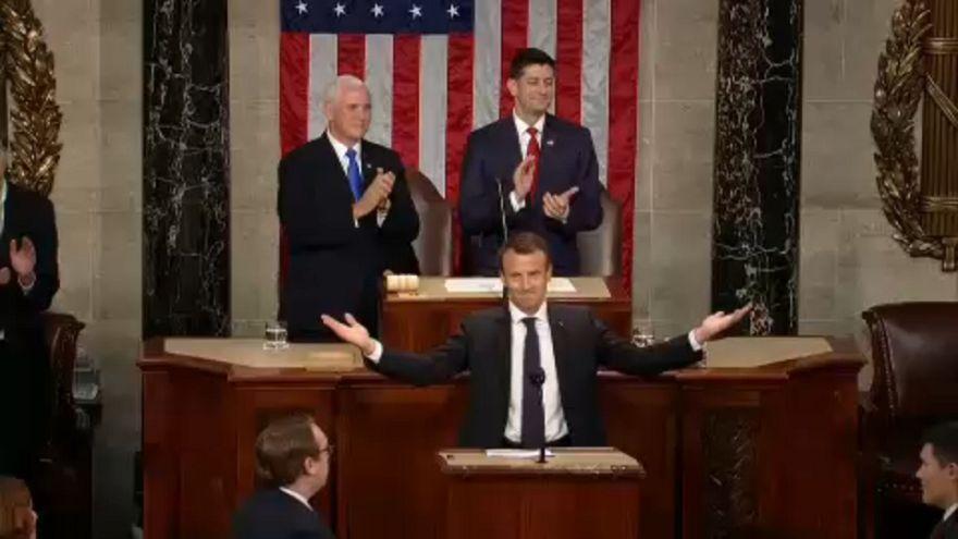 Ünnepelték Macront az amerikai kongresszusban