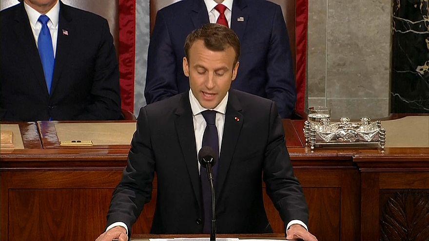 Emmanuel Macron parla al congresso Usa a camere riunite