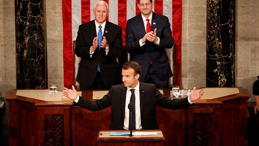 Macron applaudi par le Congrès américain