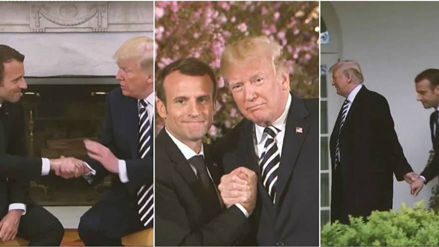 Watch: How the hands did all the talking at the Macron-Trump summit