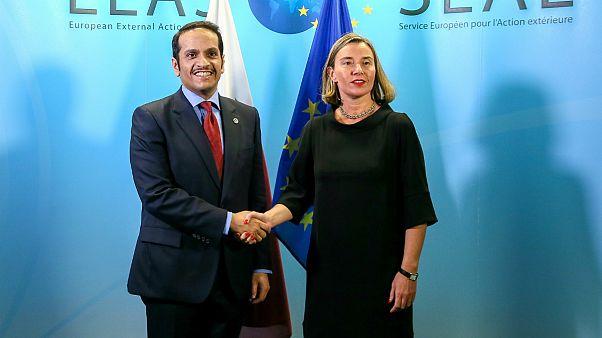 مسئول سیاست خارجی اتحادیه اروپا و وزیر خارجه قطر