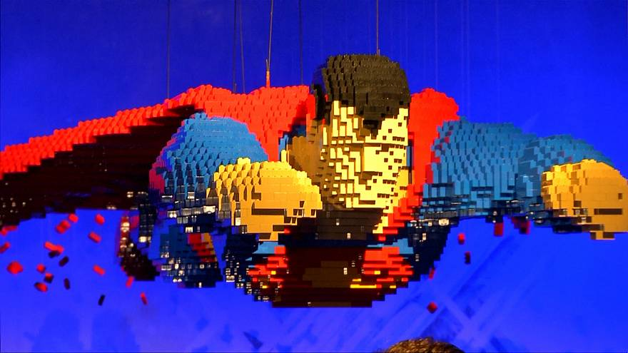 artist builds superheroes out of more than 2 million bricks
