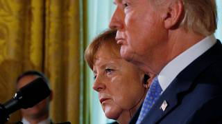 آنگلا مرکل و دونالد ترامپ در کاخ سفید