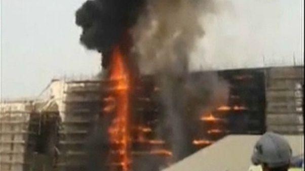 شاهد: اللقطات الأولى من حريق المتحف المصري الجديد