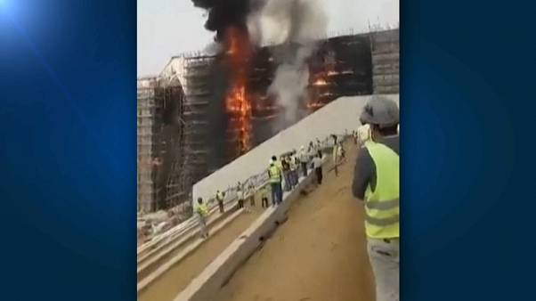 Fire engulfs Egypt Museum building site