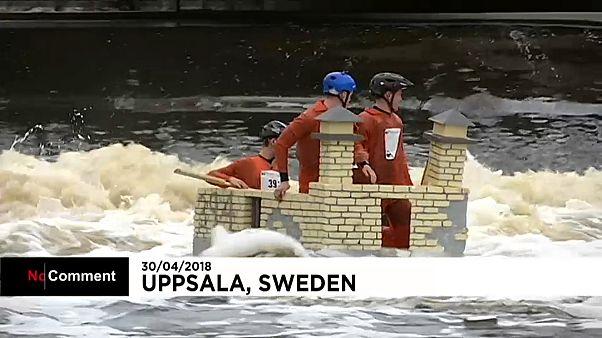 شاهد: طلاب السويد يتفنون في صنع القوارب الطريفة احتفالا بقدوم الربيع