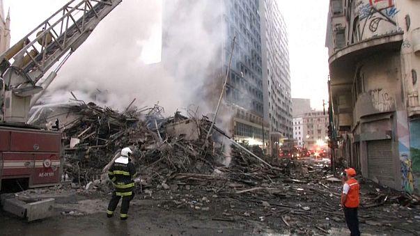 Сан-Паулу: дом загорелся и рухнул