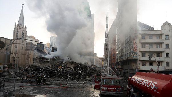 Leégett és összeomlott egy irodaépület Sao Paulóban
