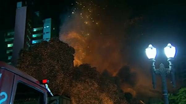 moment blazing building collapses in Sao Paulo