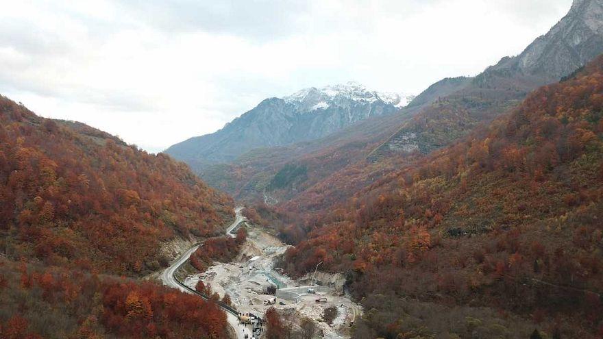 Dam construction in Valbona National Park, Albania