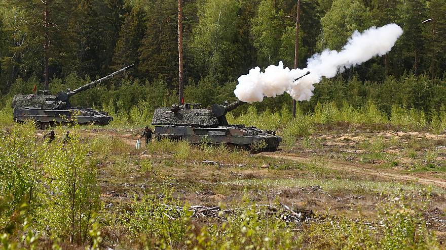 A German howitzer fires during a NATO exercise in Lithuania, May 17, 2017