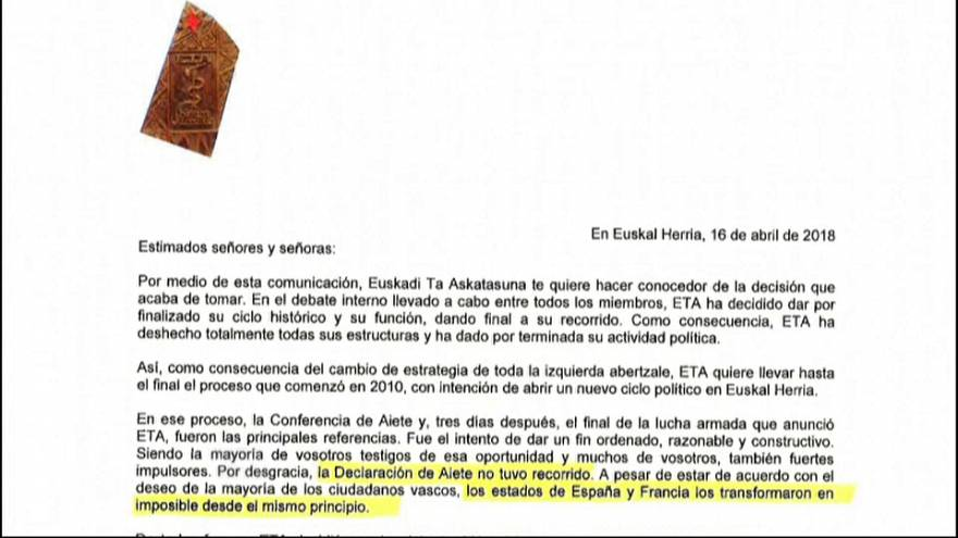 Carta completa de ETA anunciando su fin