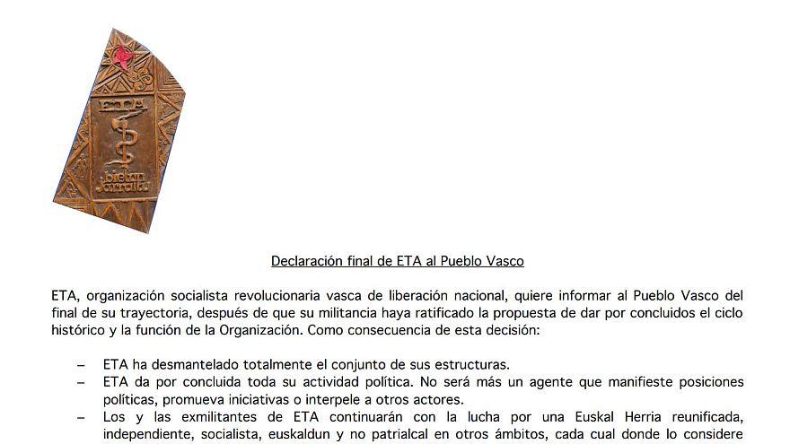 Declaración final de ETA completa