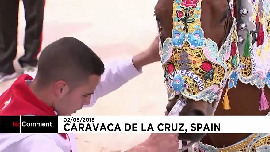 Colourful scenes as Spanish town marks running of the wine horses